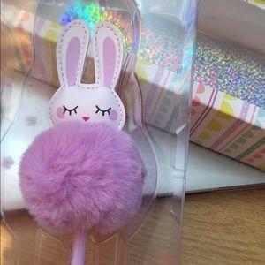 Lilac/Lavender Pom Pom Bunny Pen w/ Black Ink